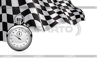 Checkered flag with stopwatch | Stock Vector Graphics |ID 3143720