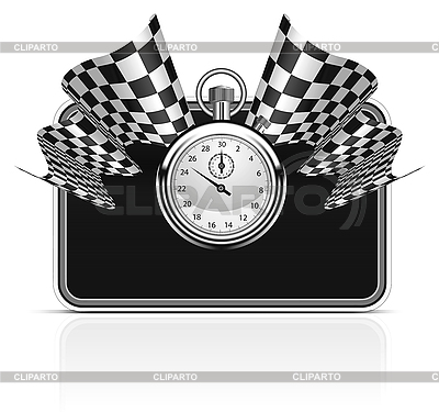 Checkered flag with stopwatch | Stock Vector Graphics |ID 3143724