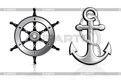 Anker und Steuerrad | Stock Vektorgrafik |ID 3154343