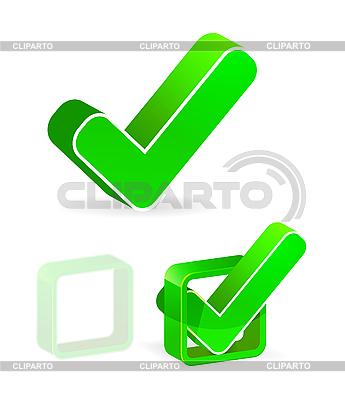 Grünes Kontrollkästchen mit Häkchen | Stock Vektorgrafik |ID 3174302