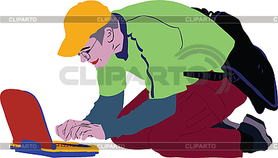 Guy in the yellow cap with laptop | Stock Vector Graphics |ID 3059120