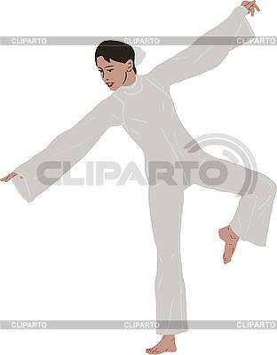 Mädchen im Tanz steht auf einem Bein | Stock Vektorgrafik |ID 3059126