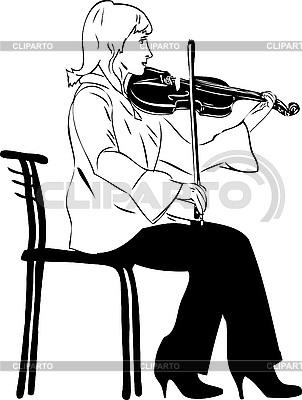 Geigerin spielt auf der Geige | Stock Vektorgrafik |ID 3059182