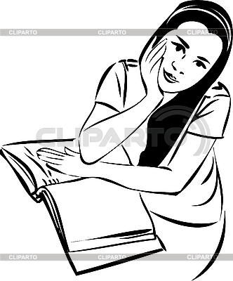 Sketch of girl at table with book   Stock Vector Graphics  ID 3059215