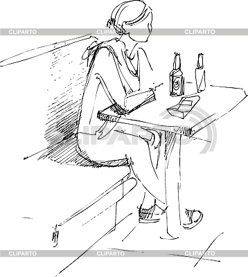 Girl at table and bottle of beer | Stock Vector Graphics |ID 3064488