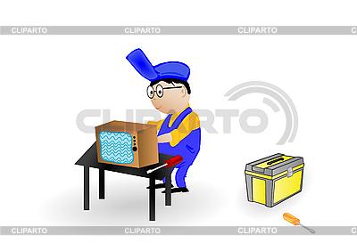 Мастер ремонтирует телевизор | Иллюстрация большого размера |ID 3054790