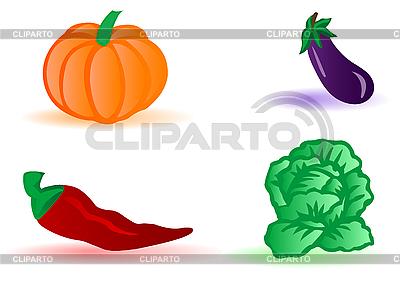 Kapusta, bakłażan, dynia, pieprz | Klipart wektorowy |ID 3090721