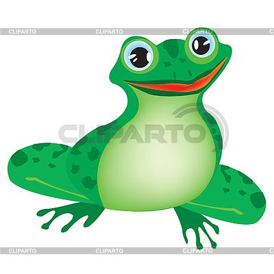 在白色背景上的绿色青蛙 | 向量插图 |ID 3058066