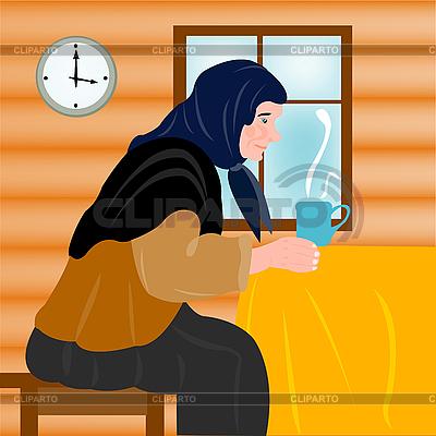 Grandmother and mug of hot tea   Stock Vector Graphics  ID 3077670