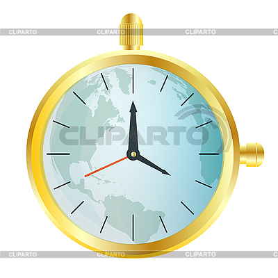 Gold watch with map of the world   Stock Vector Graphics  ID 3077732