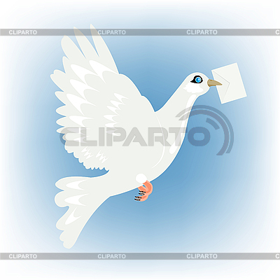 Carrier pigeon with letter in beak   Stock Vector Graphics  ID 3077845
