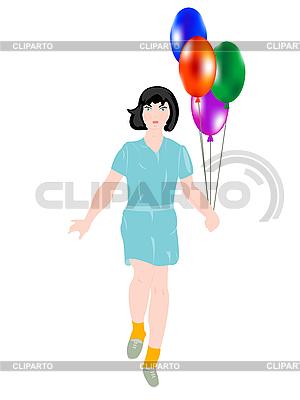 Dziewczyna z balonów | Klipart wektorowy |ID 3106172