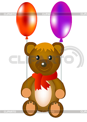 Toy teddy bear with air balloons | Stock Vector Graphics |ID 3106180