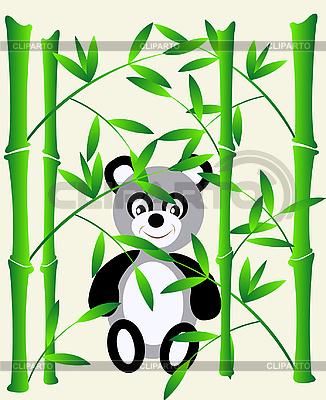 Bambus i panda bear   Klipart wektorowy  ID 3106574