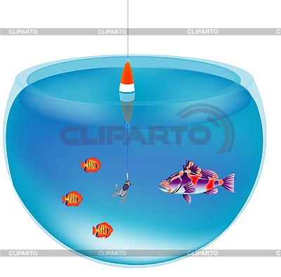 Łowienie ryb w akwarium | Klipart wektorowy |ID 3106610
