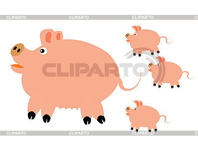 Pig with small piglets | Stock Vector Graphics |ID 3124381