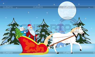 Santa Claus goes to sled | Stock Vector Graphics |ID 3125907