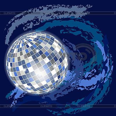 蓝色空间背景与迪斯科球 | 向量插图 |ID 3059889