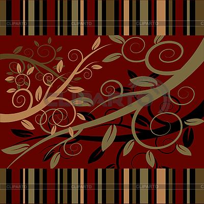 Florales Ornament auf dunkelrotem Hintergrund | Stock Vektorgrafik |ID 3079440