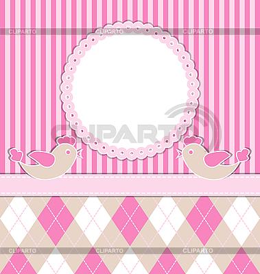 Karta dziewczynka z ptakami | Klipart wektorowy |ID 3103859