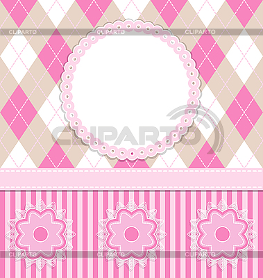 Baby girl card with flowers   Stock Vector Graphics  ID 3103863
