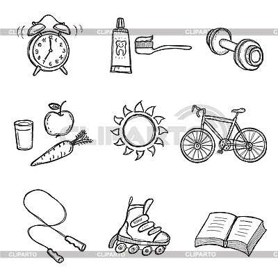 Healthy Lifestyle Set | Klipart wektorowy |ID 3060661