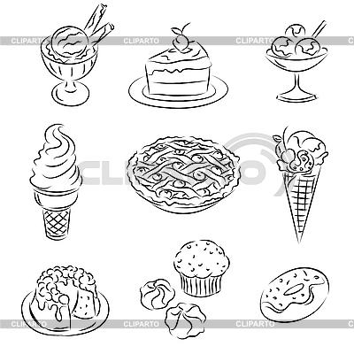 蛋糕和冰淇淋 | 向量插图 |ID 3063073