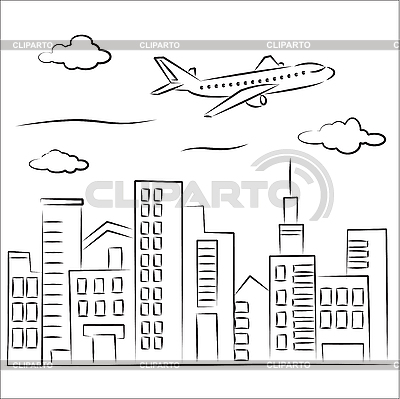 Airplane over the city | Stock Vector Graphics |ID 3063085