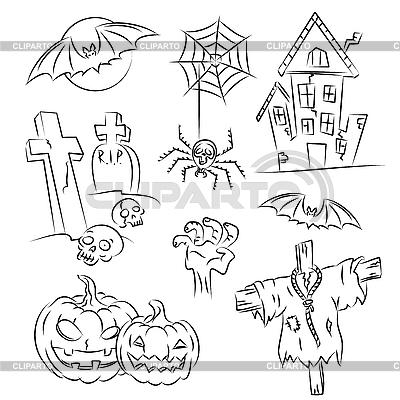 Halloween Sketch Set | Klipart wektorowy |ID 3063129