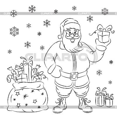 Święty Mikołaj z prezentami | Klipart wektorowy |ID 3081019