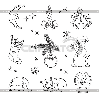 圣诞节剪贴画 | 向量插图 |ID 3081022