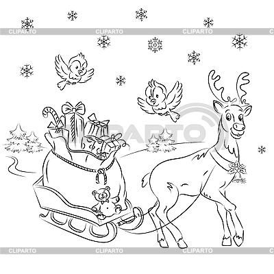 Reindeer Rudolf with sledges | Stock Vector Graphics |ID 3081025