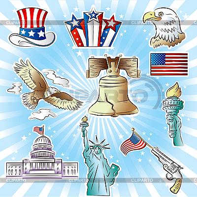 Patriotic USA Icons Set | Stock Vector Graphics |ID 3082403