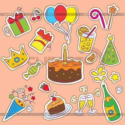 Наклейки на день рождения | Векторный клипарт |ID 3097348