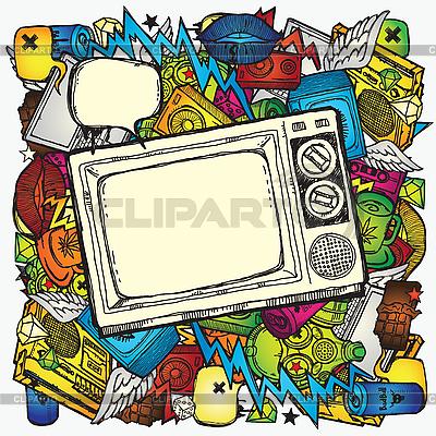 Konstrukcja z odbiornikiem TV | Klipart wektorowy |ID 3097378
