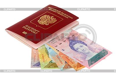 Pieniądze z Wenezueli i rosyjski paszport | Foto stockowe wysokiej rozdzielczości |ID 3060708