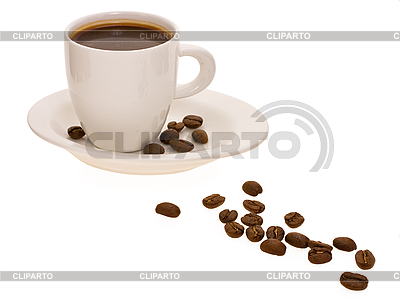 Cup with coffee and coffee beans | High resolution stock photo |ID 3067396