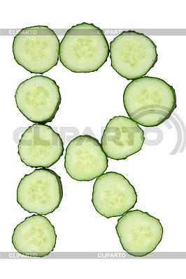 Pflanzlicher Buchstabe R von geschnittener Gurke | Foto mit hoher Auflösung |ID 3067283