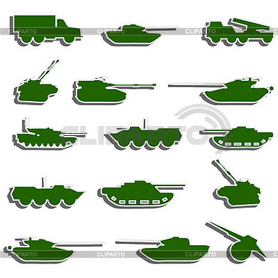 Czołgi, artyleria i pojazdy z II wojny światowej | Klipart wektorowy |ID 3067953