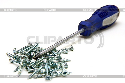 Screwdriver and small metal screws | High resolution stock photo |ID 3068701