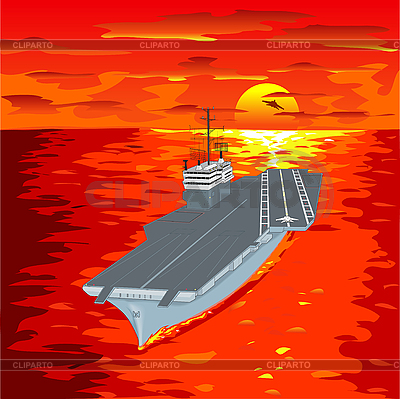 Aircraft carrier on waves | Stock Vector Graphics |ID 3069305