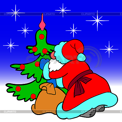 Santa Claus verkleidet Weihnachtsbaum mit Kugeln | Stock Vektorgrafik |ID 3073961