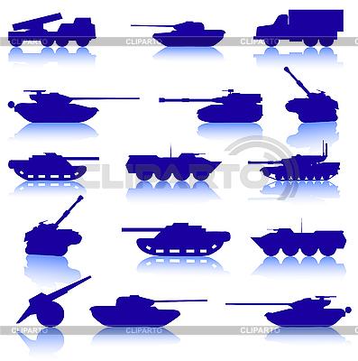 Zestaw czołgów i armat   Klipart wektorowy  ID 3074131