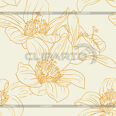 Seamless pattern with orchid flowers   Stock Vector Graphics  ID 3074249