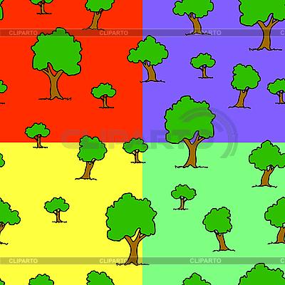 나무의 원활한 패턴   벡터 클립 아트  ID 3075225