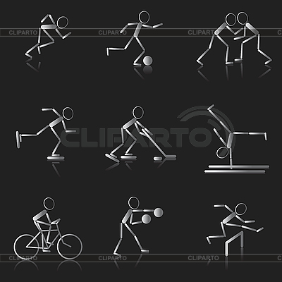 Set of black and white sport icons | Stock Vector Graphics |ID 3075896