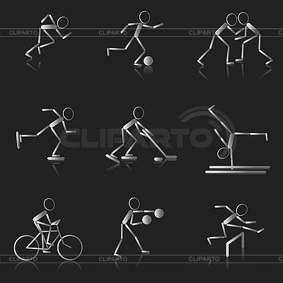 Zestaw czarno-białe ikony sportu | Klipart wektorowy |ID 3075896