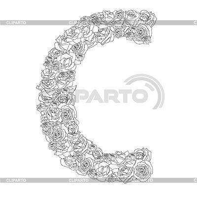 빨간 장미의 꽃 알파벳 문자 C   벡터 클립 아트  ID 3100874