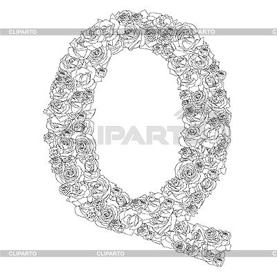 Blumen-Alphabet aus roten Rosen, Zeichen Q | Stock Vektorgrafik |ID 3100911