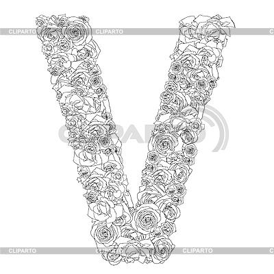 Blumen-Alphabet aus roten Rosen, Zeichen V | Foto mit hoher Auflösung |ID 3100919